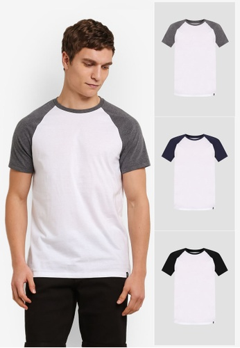 Burton Menswear London 灰色 3 Pack Raglan T-Shirts BU964AA0S7EWMY_1