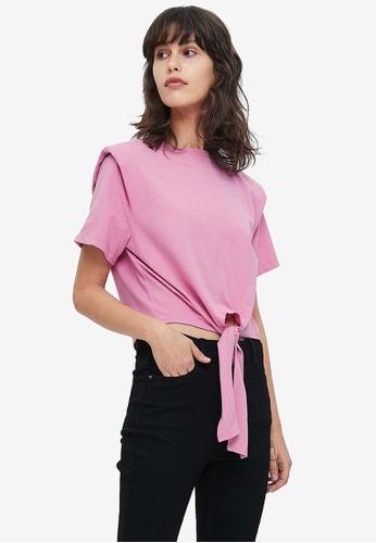 URBAN REVIVO pink Casual T-Shirt B5628AA2242FCEGS_1
