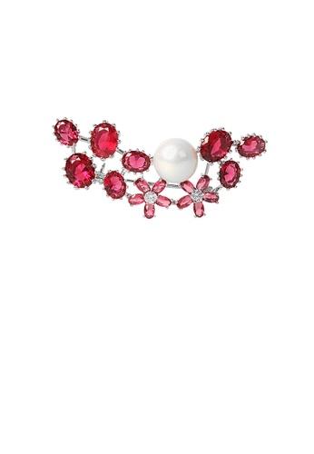 Glamorousky 白色 時尚優雅花朵仿珍珠胸針配紅色鋯石 80A79ACD9197D4GS_1