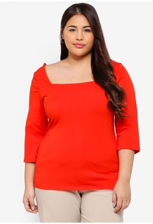 d60f6180885 Plus Size Red Square Neck Top E7E60AAD0A13E1GS 1 Dorothy Perkins ...