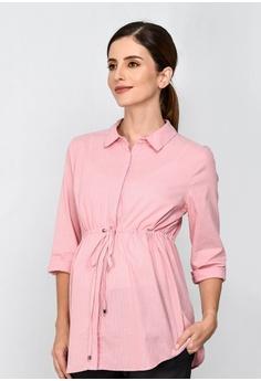 7a973436d96144 9months Maternity pink Pink Maternity Drawstring Shirt 3678BAA587FBD4GS 1