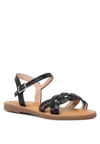 London Rag black Ankle Strap Flat Sandals 68585SHBCCE9FFGS_1
