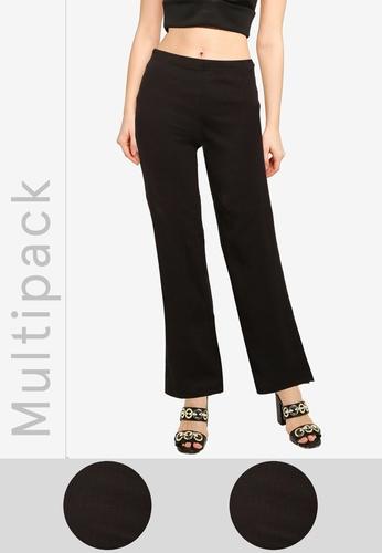 MISSGUIDED black 2 Packs Wide Leg Ribbed Pants BA76DAA74F37B1GS_1
