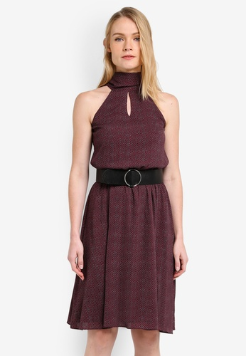 ZALORA red Tie Neck Keyhole Midi Dress 9D836AAB4C4751GS_1