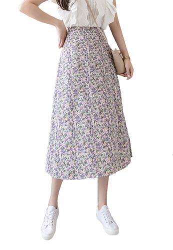 Halo purple Summer Floral Printed Skirt 9016AAA540B568GS_1