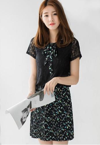 Sesura black Charming Composure Tie Dress 9EB72AA0A8F2D8GS_1
