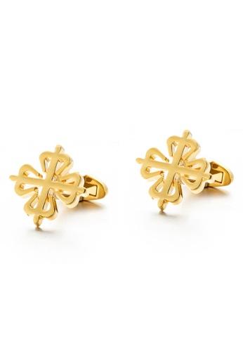 Kings Collection gold Gold Flower Plum Cufflinks (KC10033a) A3F2FAC654B7B2GS_1