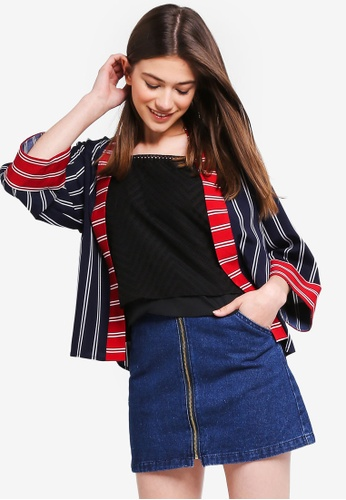 Something Borrowed red and navy Contrast Stripes Kimono Cardigan 9103FAAFFDCABAGS_1