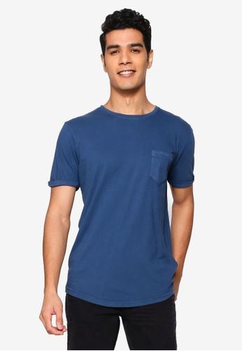 !Solid navy Loman Pocket T-Shirt B1E6EAA979272DGS_1