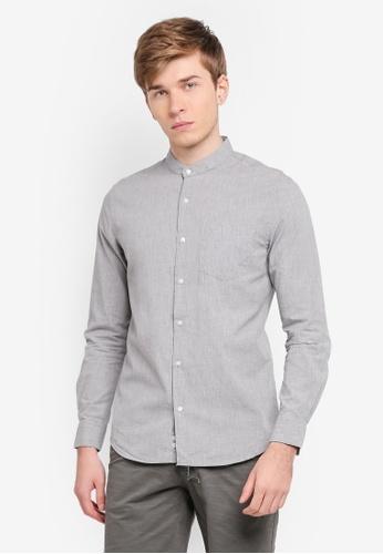 Electro Denim Lab grey Melange Mandarin Collar Shirt EL966AA0SPC5MY_1
