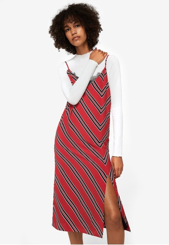 Mango red Striped Camisole Dress MA193AA0RMJAMY_1