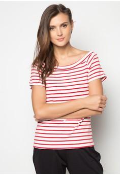 Printed Stripes Off Shoulder Tee