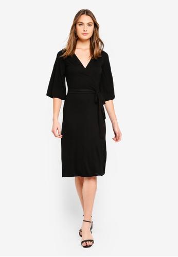 52a7b46607f7 Dorothy Perkins black Plain Black Midi Wrap Dress 7D8CBAAC7035EEGS 1