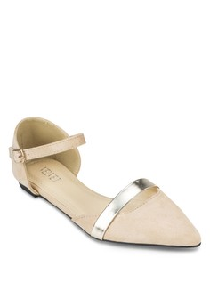 【ZALORA】 Posh 金屬條飾尖頭繞踝平底鞋