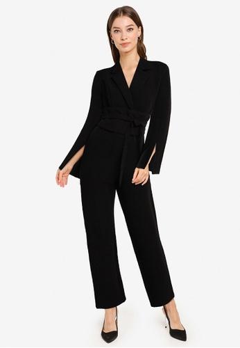 ZALORA OCCASION black Blazer Wrap Jumpsuit With Self-Tie Belt 73DE1AA1A589DFGS_1
