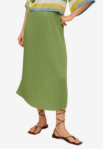 Mango green Pleated Knit Skirt DE8E0AA31AE62EGS_1