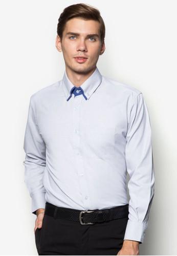 撞色滾邊長zalora退貨袖襯衫, 服飾, 襯衫