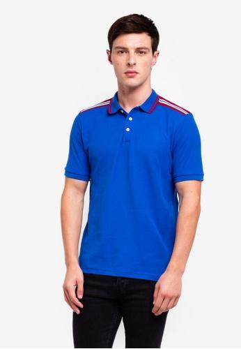 UniqTee 藍色 條紋滾邊POLO衫 3770DAA4649AECGS_1