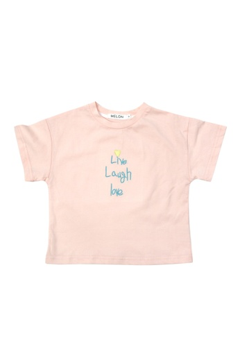 MELON pink Soft Cotton Tee with Embroidery, Blush Pink D77C3KAC2925C4GS_1