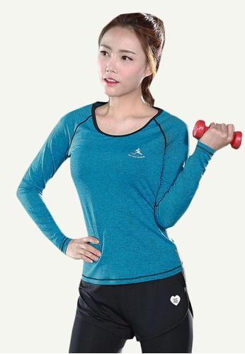B-Code blue ZYG5098-Lady Quick Drying Running Fitness Yoga Sports Long Sleeve Top-Blue 3983DAAAA2248DGS_1