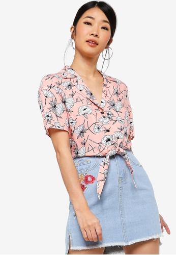 Something Borrowed pink Resort Shirt With Tie BCE5BAA2622E32GS_1