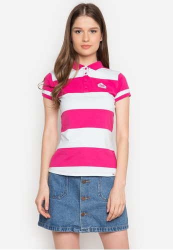 Stylistic Mr. Lee white and pink Short Sleeves Stripes Polo Shirt MR206AA0JXTTPH_1