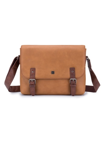 ENZODESIGN brown ENZODESIGN Antique Flap Over Leather Messenger B10208 F4CDCAC0606465GS_1