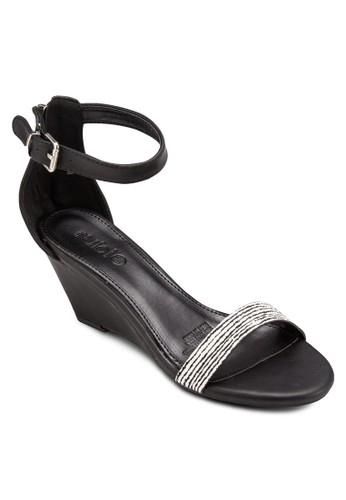 esprit 京站Felix 一字帶繞踝楔型鞋, 女鞋, 鞋