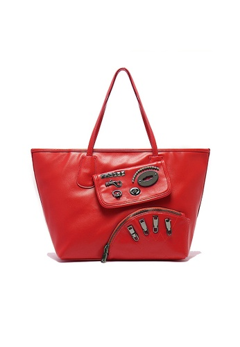 LULUGIFT red Lulugift Funky Punk Metal Kit PU Leather Shoulder Bag Red LU989AC10QGJMY_1
