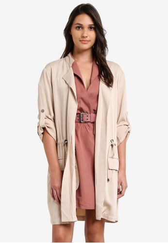 Something Borrowed beige Relaxed Parka Jacket 2EB2CZZ98501FCGS_1