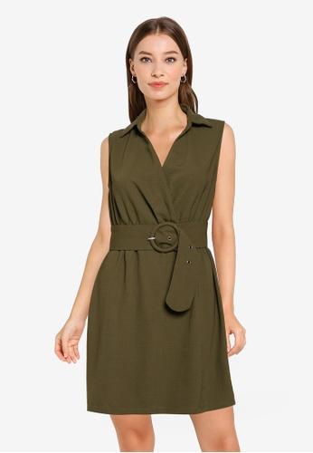 ZALORA WORK green Collared Twist Detail Dress 0A75EAA2FD7D98GS_1