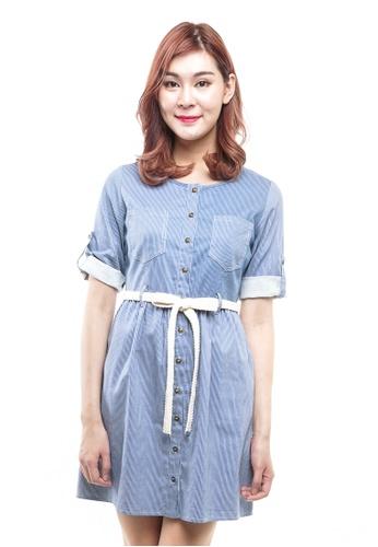 c520a6cd602 nicole blue Button Front Mini Dress With Braided Belt C62FFAA0CD5B9CGS_1