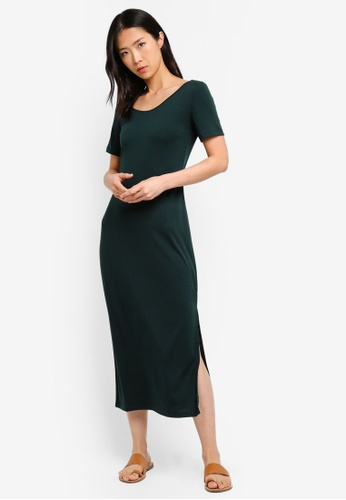ZALORA BASICS green Basic Midi T-Shirt Dress 306FEAAB7BB509GS_1