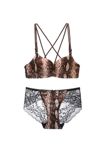 Midnight 褐色 Premium Lace Brown Lingerie Set (Bra and Underwear) 74303USDB5BBF3GS_1