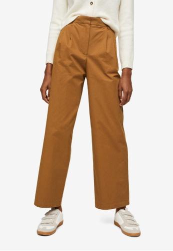 Mango brown Cotton Pleated Trousers 35BA7AA33FE9ADGS_1