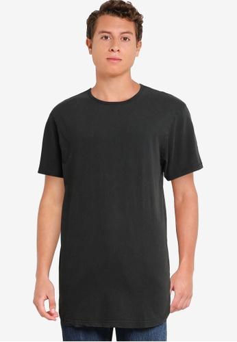 Cotton On black Curved Hem T-Shirt FCB24AA98468A8GS_1