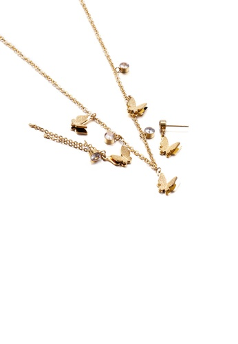Glamorousky white Fashion and Simple Plated Gold Butterfly 316L Stainless Steel Necklace and Asymmetric Earrings Set with Cubic Zirconia 2F5B0ACC8EFD21GS_1
