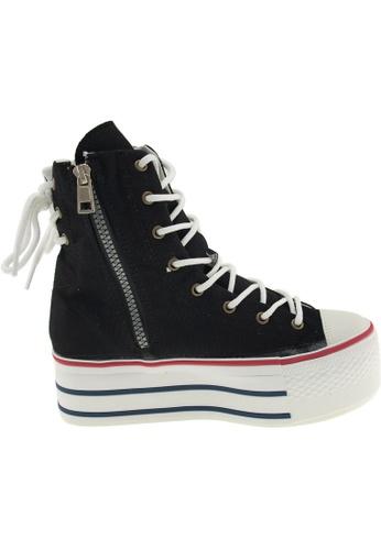 Maxstar black Maxstar Women's C50 Back Lace Platform Canvas Ankle High Sneakers US Women SizeBoots US Women Size MA164SH68PNVSG_1