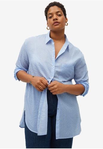 Violeta by MANGO blue Plus Size Striped Cotton Shirt 96E3EAAEE3470CGS_1