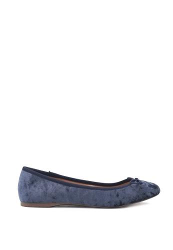 London Rag blue Blue Velvet Ballerina with Bow 18B13SHBF1F351GS_1