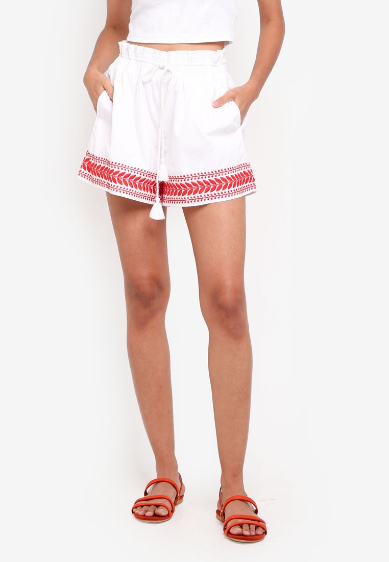 Shorts Crew Red Pull On J White Embroidered dIwxBq40
