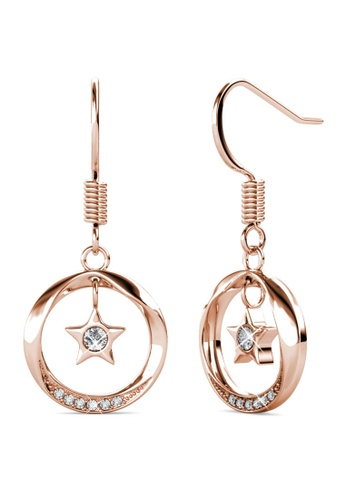 Her Jewellery Stellar Hook Earrings (Rose Gold) - Made with premium grade crystals from Austria 02BC5AC84A45CDGS_1