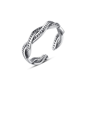 Glamorousky silver 925 Sterling Silver Simple Fashion Twist Adjustable Open Ring 1C80DACC519D31GS_1