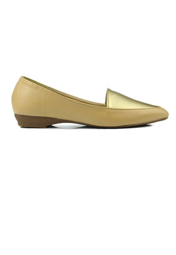 SHINE gold Faux Leather Loafers E9F3CSH6084B00GS_1