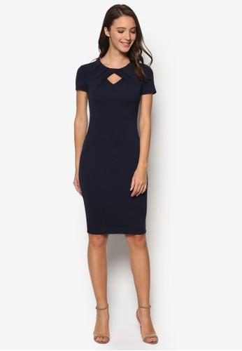 褶飾鏤空esprit台灣網頁及膝連身裙, 服飾, 洋裝