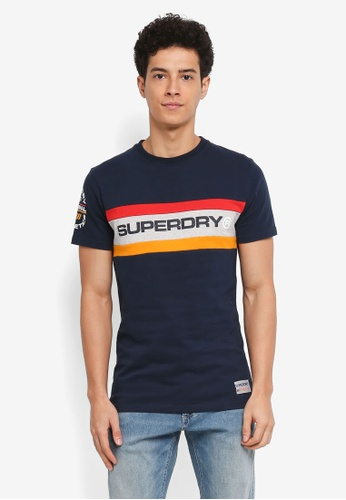 Superdry navy Trophy Chest Band Tee D2260AA552E745GS_1
