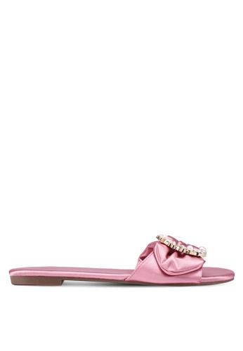 Nose 粉紅色 綢緞珍珠鑽飾拖鞋 6146ASH7D9525EGS_1