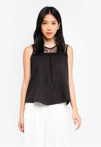 ZALORA BASICS black Lace Yoke Top 02654AA05BB982GS_1