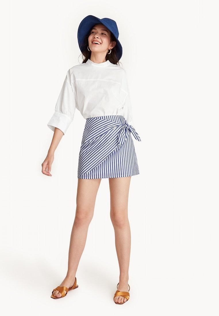 Wrap Striped Tie Skirt Blue Pomelo qwx5EASBS