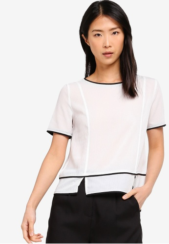 ZALORA BASICS white Basic Contrast Piping Top CB805AAA3602A1GS_1